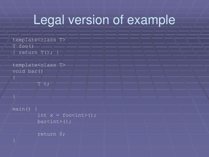 Legal version of example