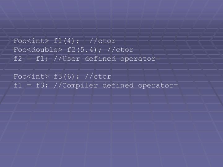 Foo<int> f1(4);  //ctor