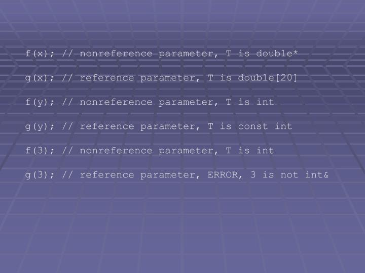 f(x); // nonreference parameter, T is double*