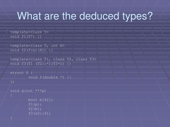 What are the deduced types?