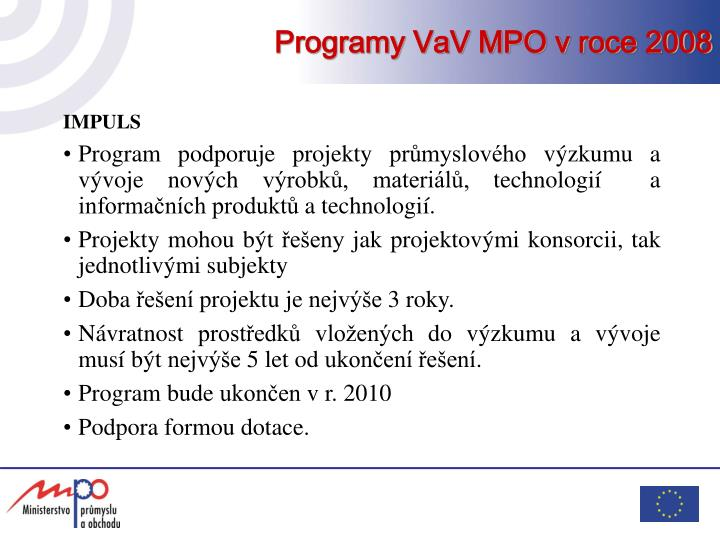 Programy vav mpo v roce 2008