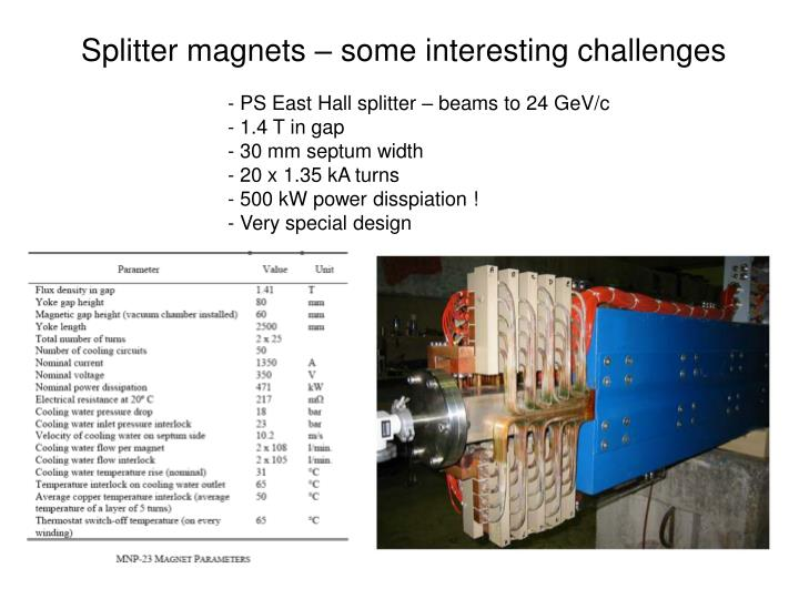 Splitter magnets – some interesting challenges