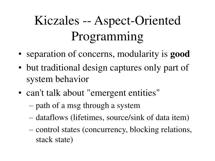 Kiczales -- Aspect-Oriented Programming