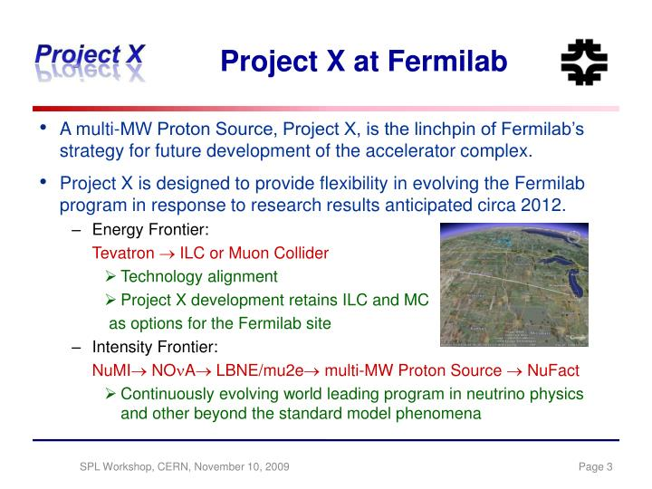 Project x at fermilab