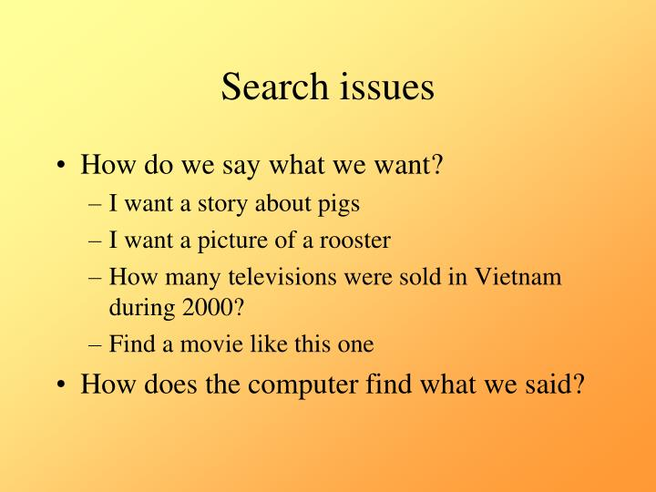 Search issues