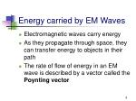 energy carried by em waves