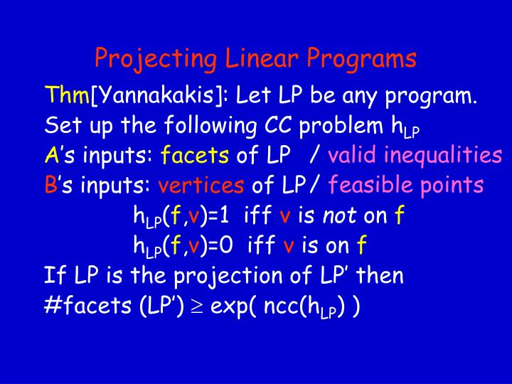 Projecting Linear Programs