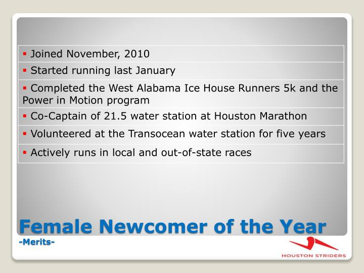 Female Newcomer of the Year