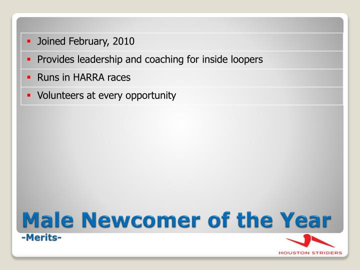 Male Newcomer of the Year