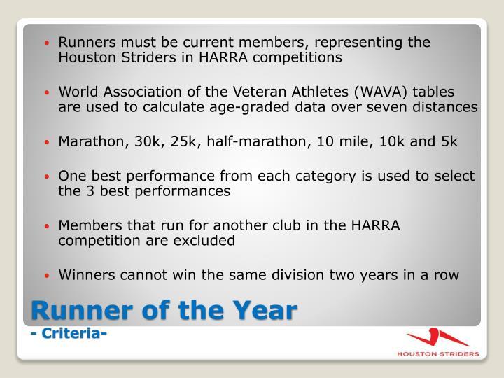 Runner of the year criteria