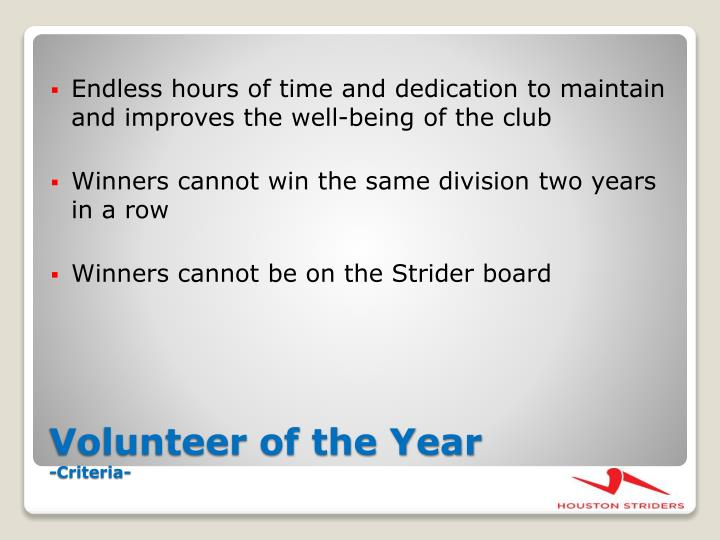 Endless hours of time and dedication to maintain and improves the well-being of the club