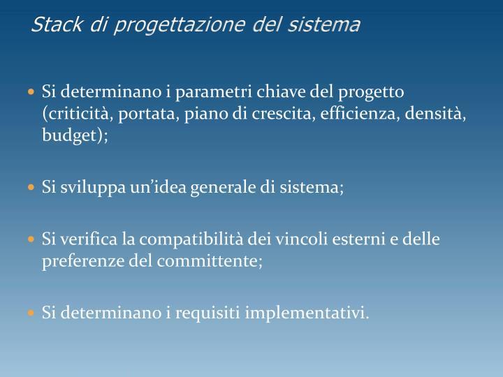 Stack di progettazione del sistema