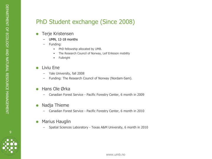PhD Student exchange (Since 2008)