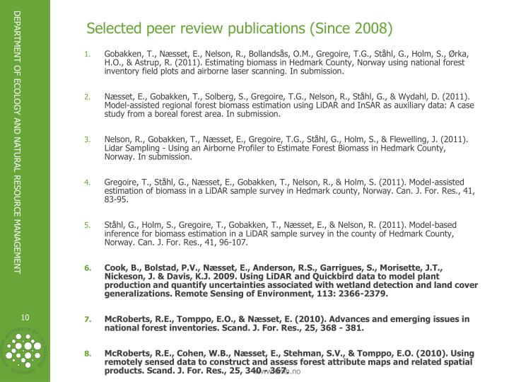 Selected peer review publications (Since 2008)