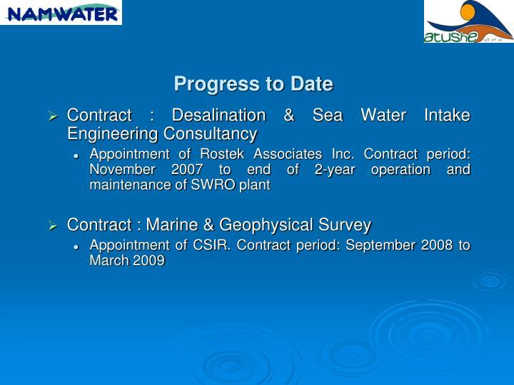 Contract : Desalination & Sea Water Intake Engineering Consultancy