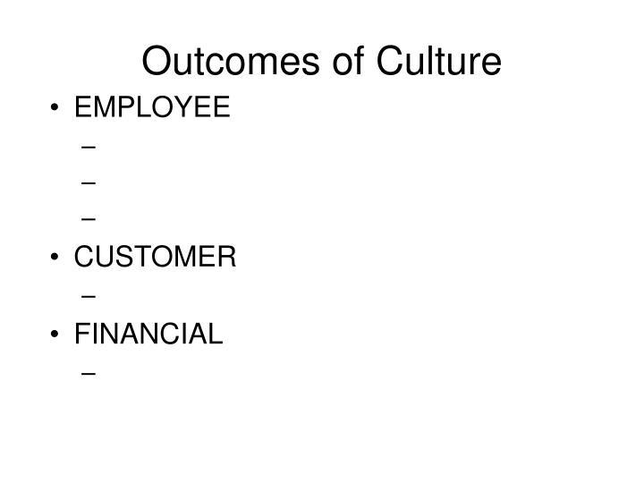 Outcomes of Culture