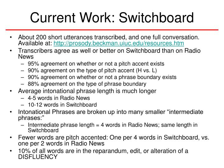 Current Work: Switchboard