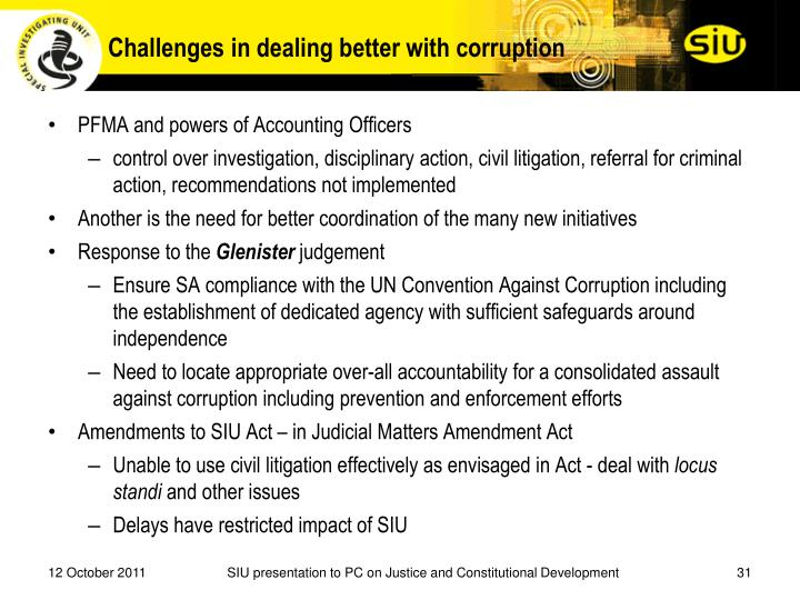 Challenges in dealing better with corruption