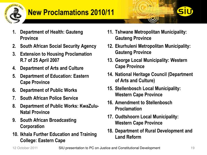 New Proclamations 2010/11