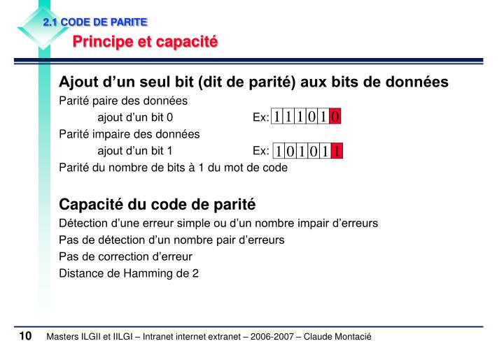 2.1 CODE DE PARITE