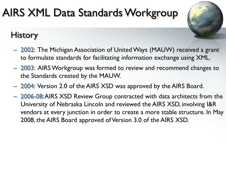 AIRS XML Data Standards Workgroup