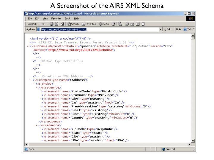 A Screenshot of the AIRS XML Schema