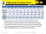 budget growth and projects income