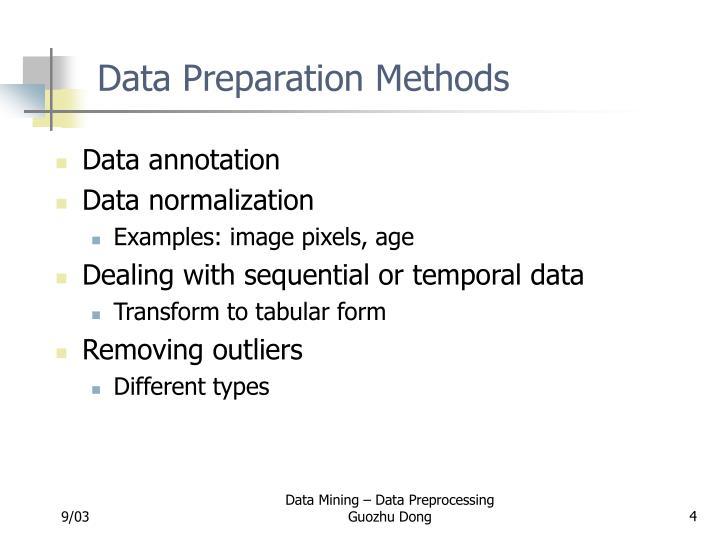 Data Preparation Methods
