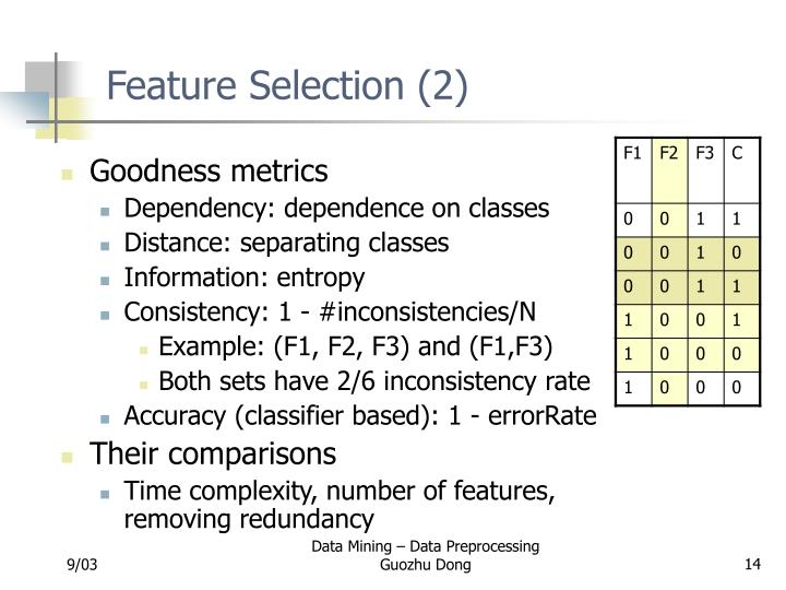 Feature Selection (2)
