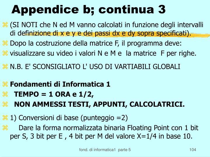 Appendice b; continua 3