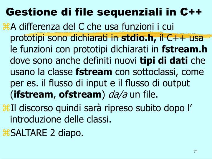 Gestione di file sequenziali in C++