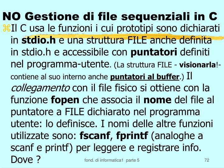 NO Gestione di file sequenziali in C