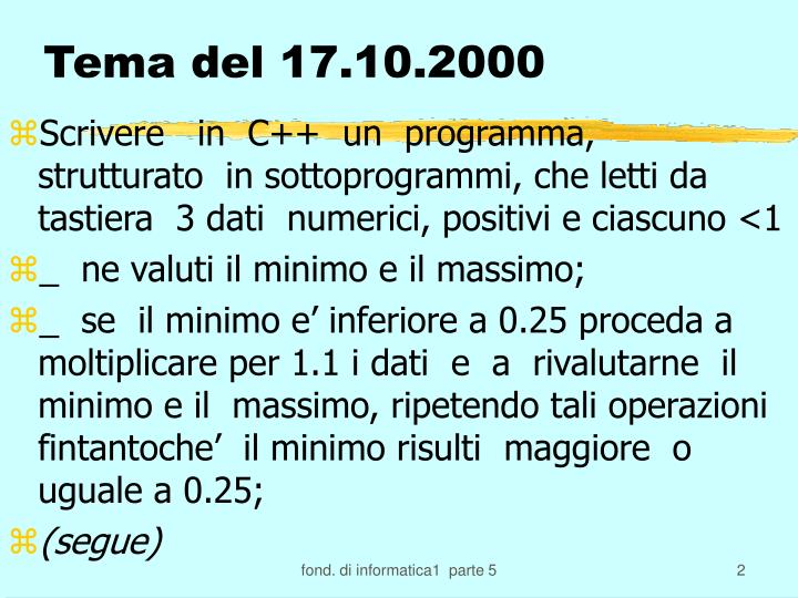 Tema del 17 10 2000