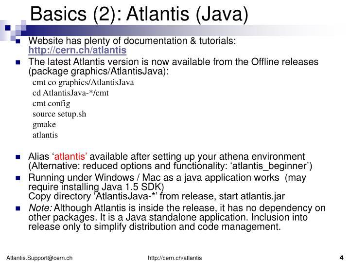 Basics (2): Atlantis (Java)