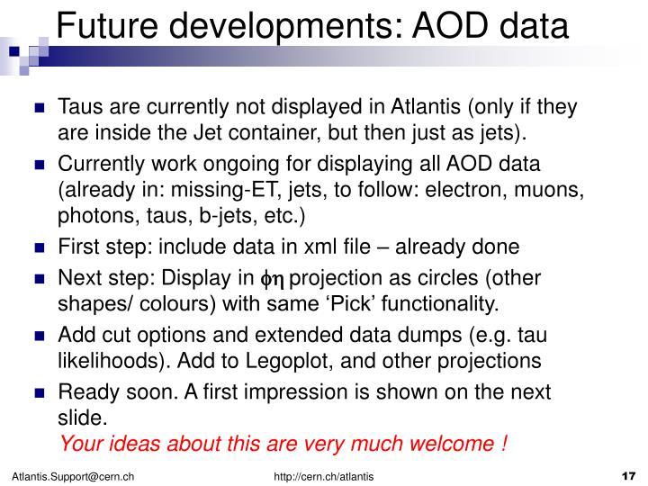 Future developments: AOD data