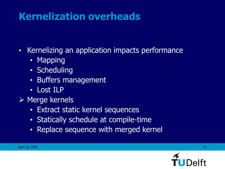 Kernelization overheads