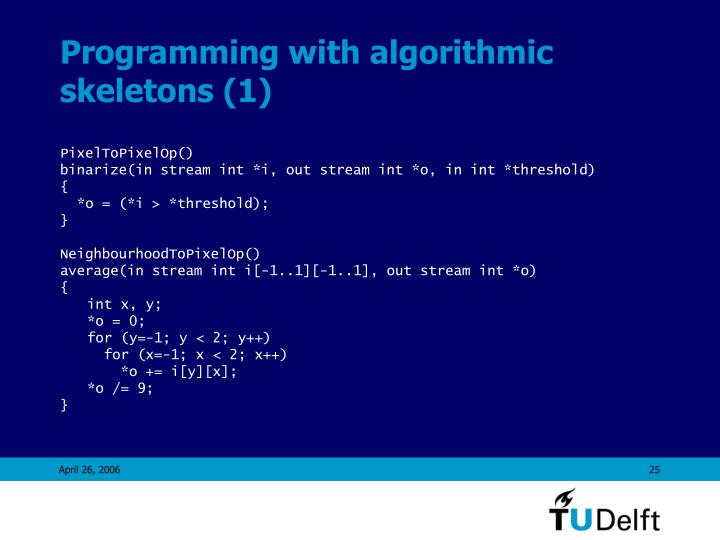 Programming with algorithmic skeletons (1)