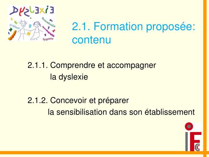 2.1. Formation proposée: