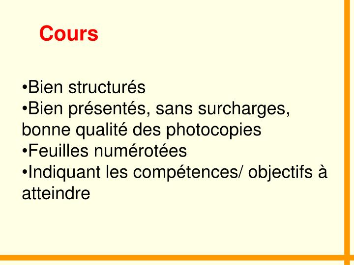 Cours
