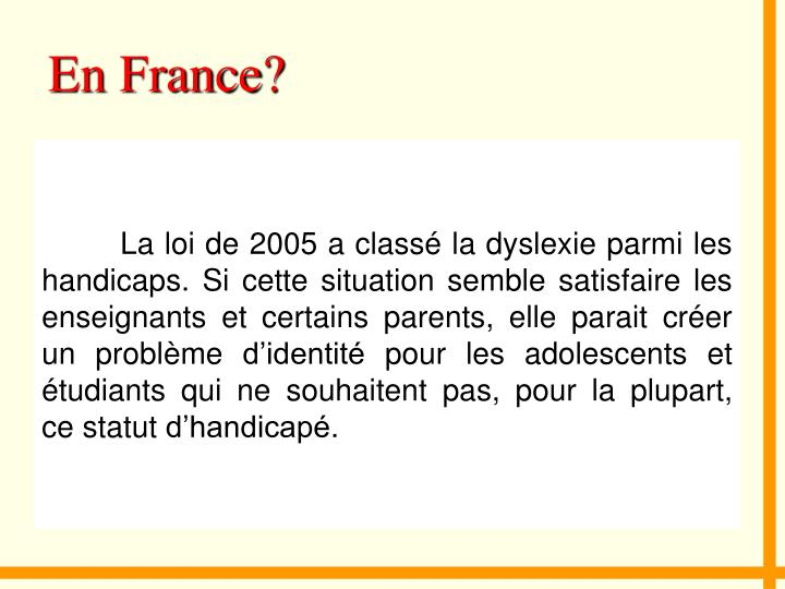 En France?