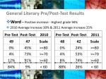 general literary pre post test results