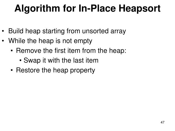 Algorithm for In-Place Heapsort