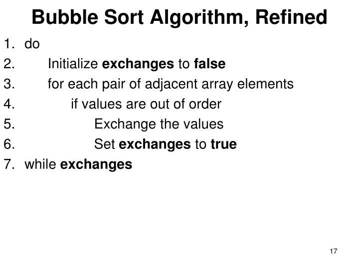 Bubble Sort Algorithm, Refined