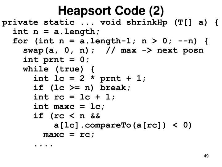 Heapsort Code (2)