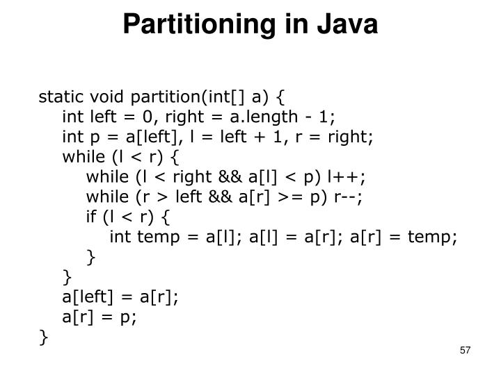 Partitioning in Java