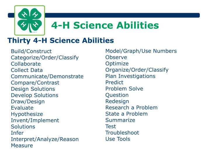 4-H Science Abilities