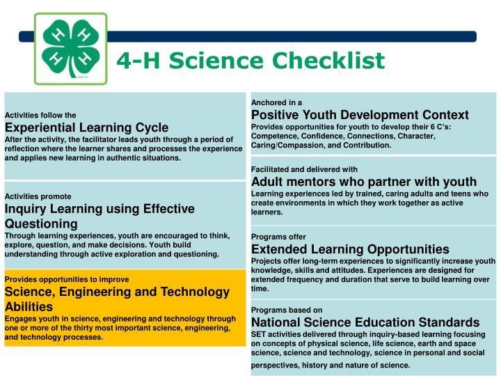 4-H Science Checklist