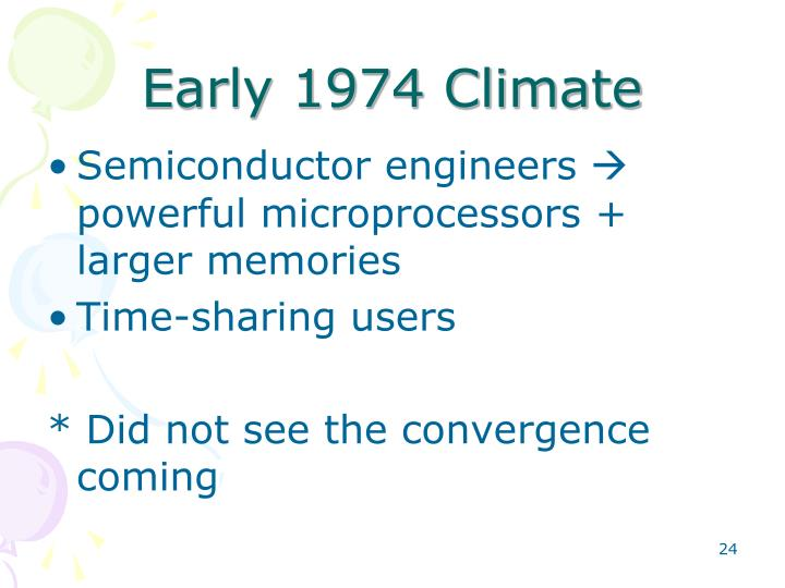 Early 1974 Climate