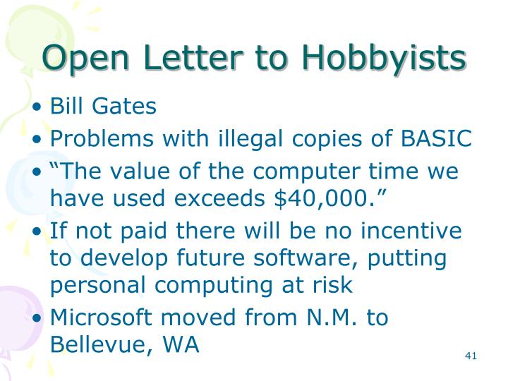 Open Letter to Hobbyists