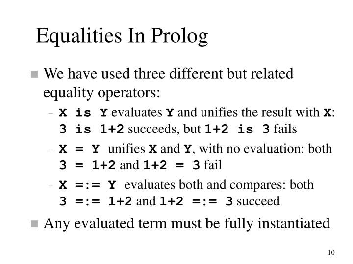 Equalities In Prolog